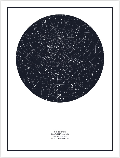 The Night Sky star map poster