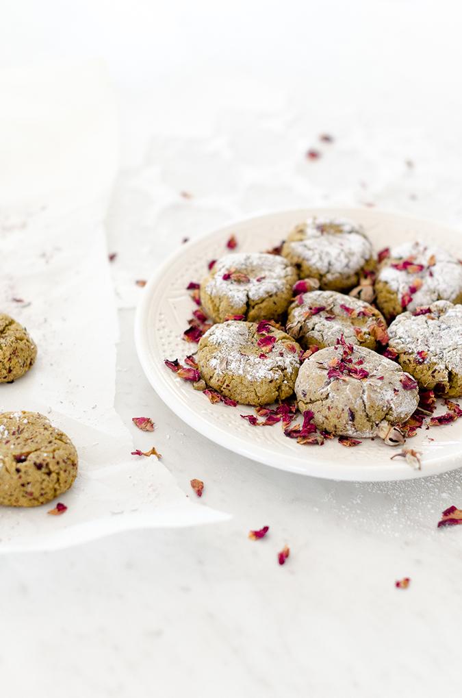 moroccan pistachio rose cookies recipe on laurenconrad.com