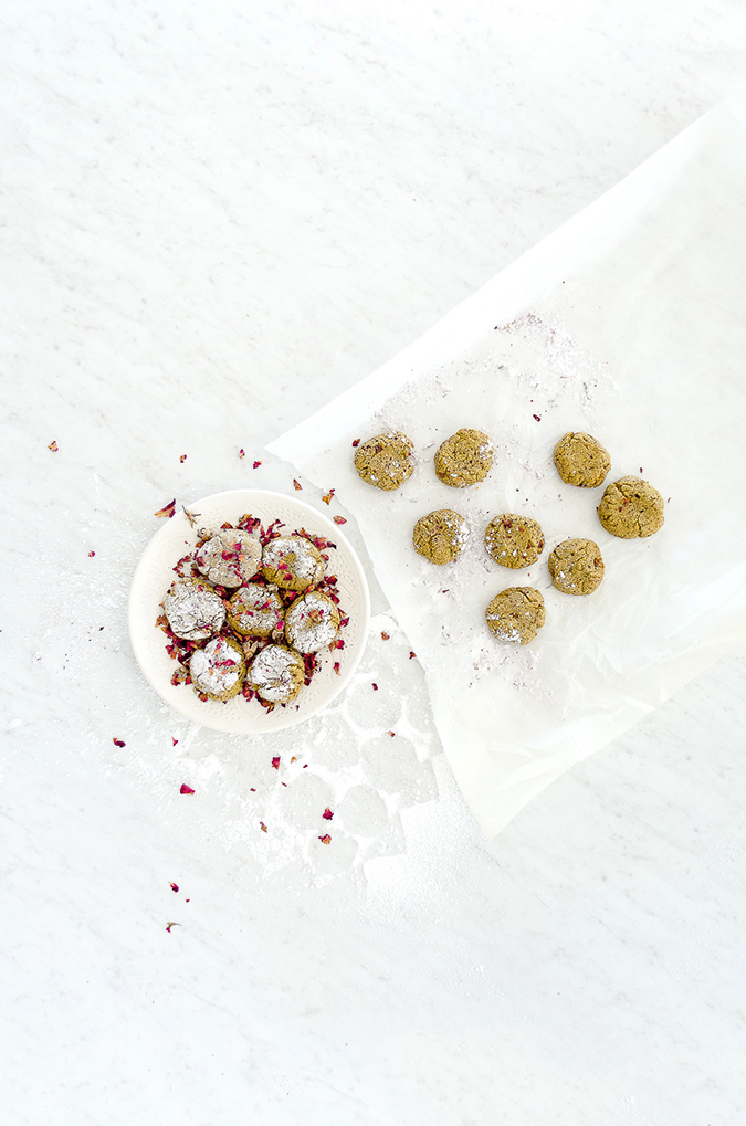 moroccan pistachio rose cookies via The Kitchy Kitchen