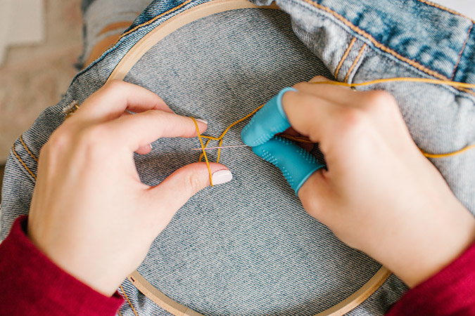 how to hand embroider denim