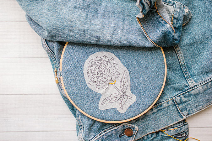 DIY hand embroidered denim tutorial via LaurenConrad.com