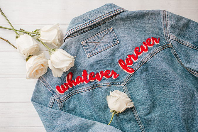 hand embroidered denim DIY via LaurenConrad.com