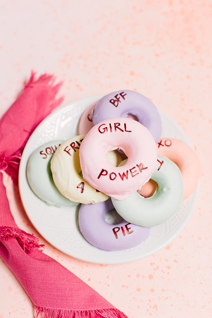 conversation heart donuts for V-day