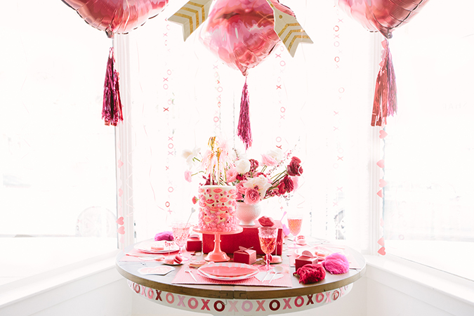 galentine's day set up via LaurenConrad.com