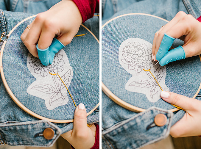 how to embroider your own denim