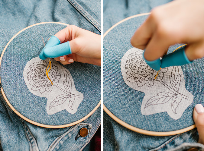 how to hand embroider denim at home