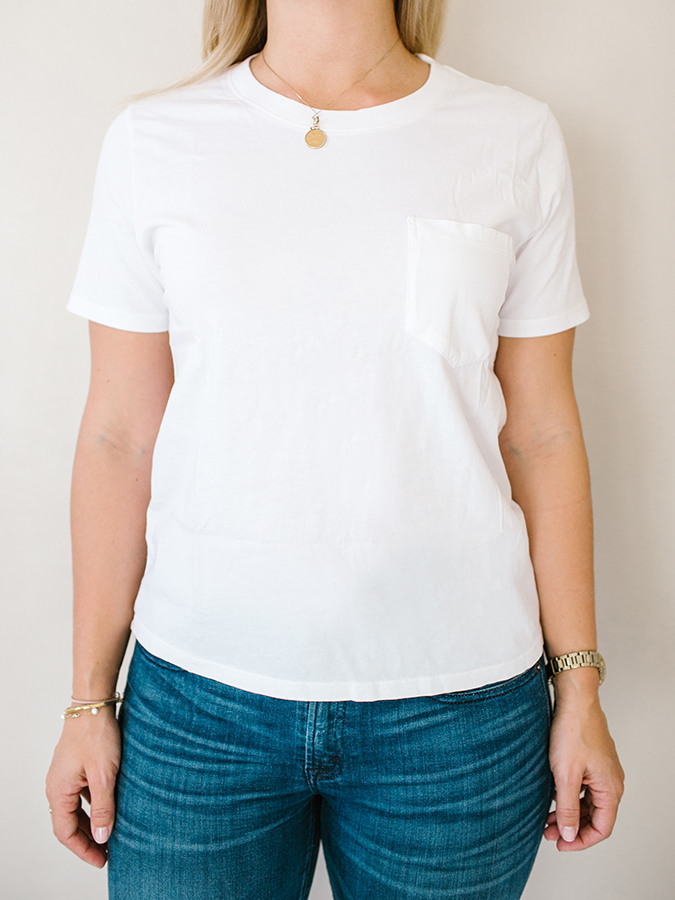white pocket tee from Everlane