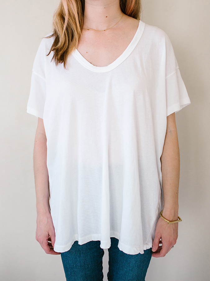 white U-neck tee from The Great