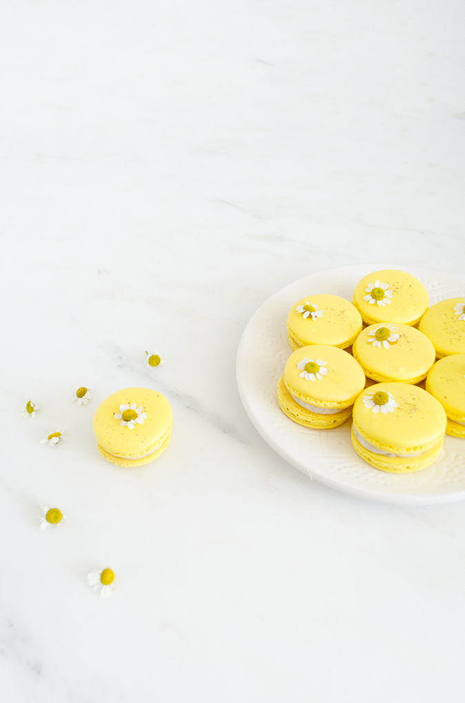 chamomile macarons for easter via laurenconrad.com