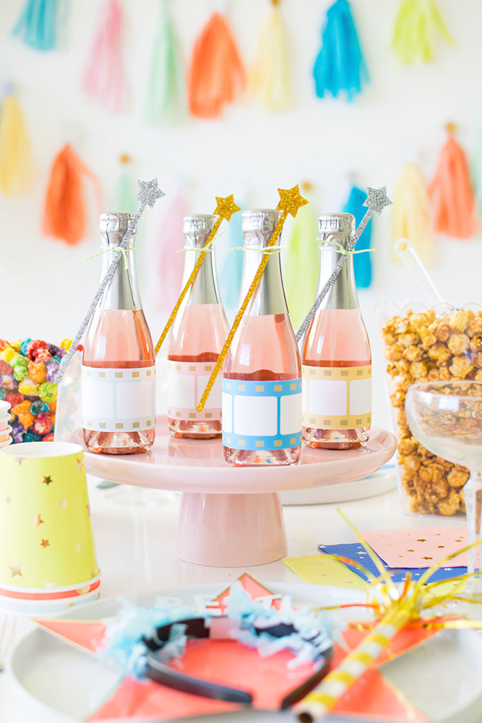 fun and bright Hollywood themed Oscars party