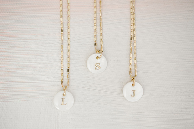 LC Lauren Conrad mother of pearl initial necklaces