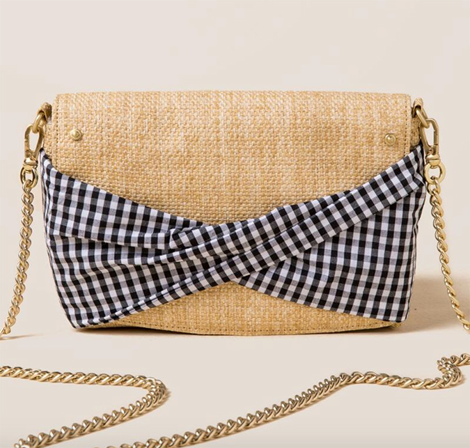 gingham crossbody clutch