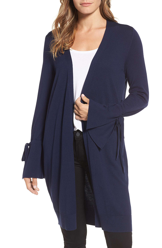 Halogen Lightweight Tie Sleeve Cardigan