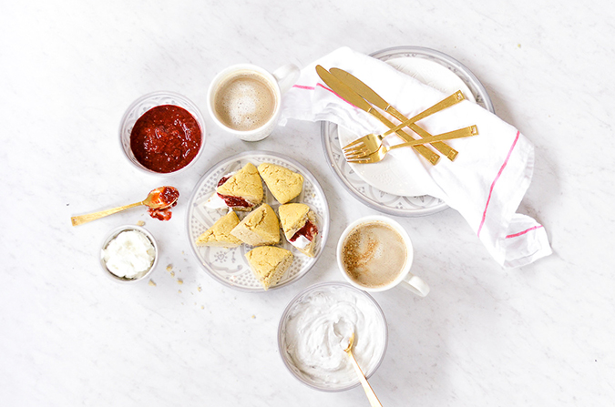 scones with coconut creme and sweet berry jam | recipe via laurenconrad.com