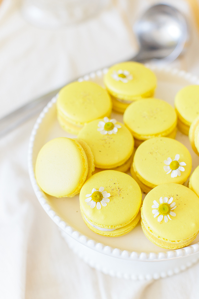 chamomile easter macarons recipe via laurenconrad.com