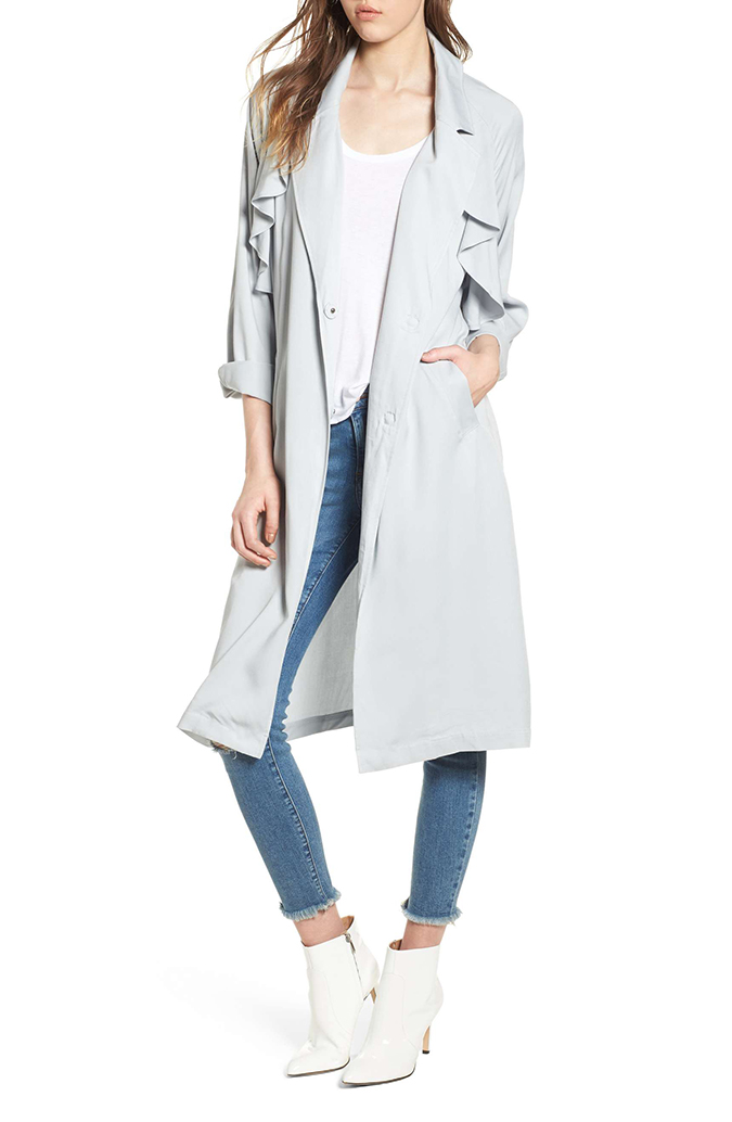 leith ruffle trim trench coat
