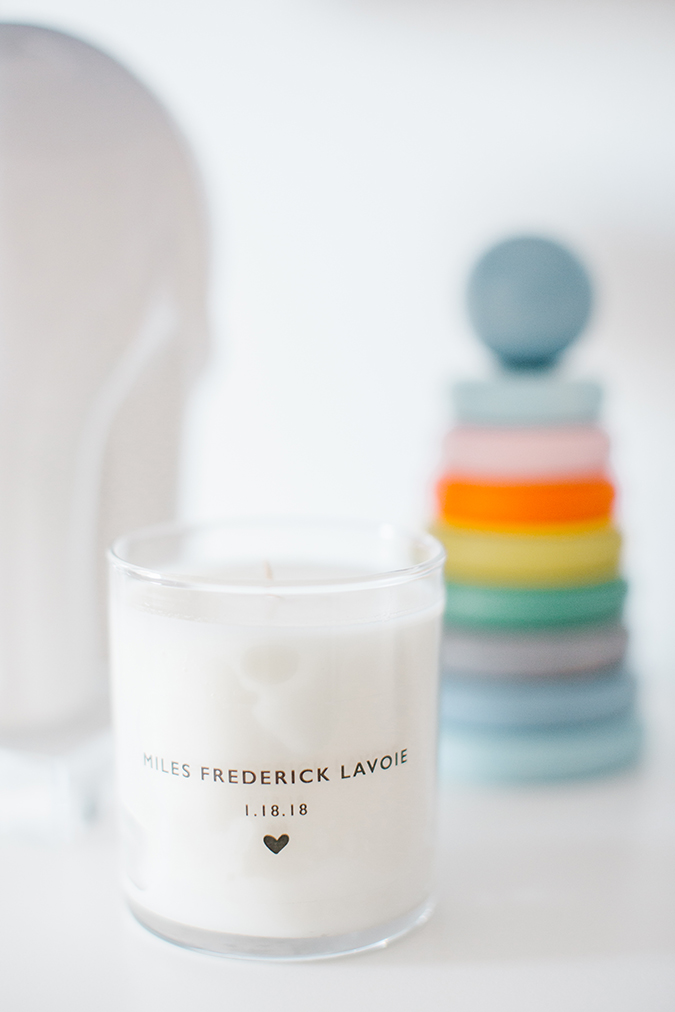 The Little Market custom name candle in a boy's nursery