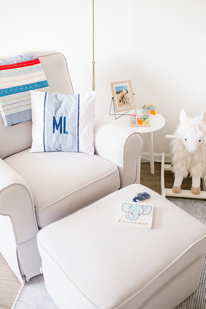 Pottery Barn Kids glider and nursery details