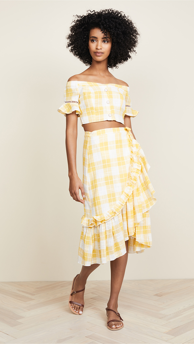 red carter gingham skirt and top