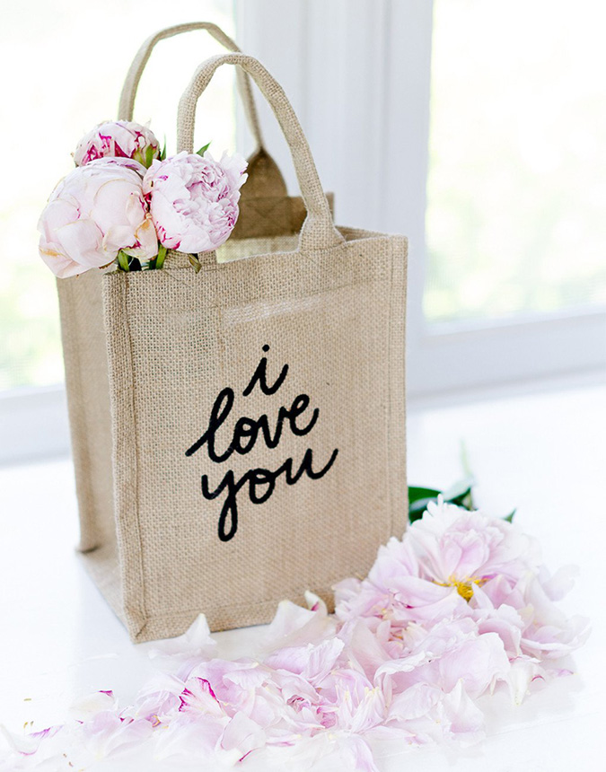 i love you reusable shopping bag by the little market
