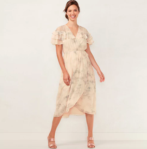 LC Lauren Conrad faux wrap midi dress