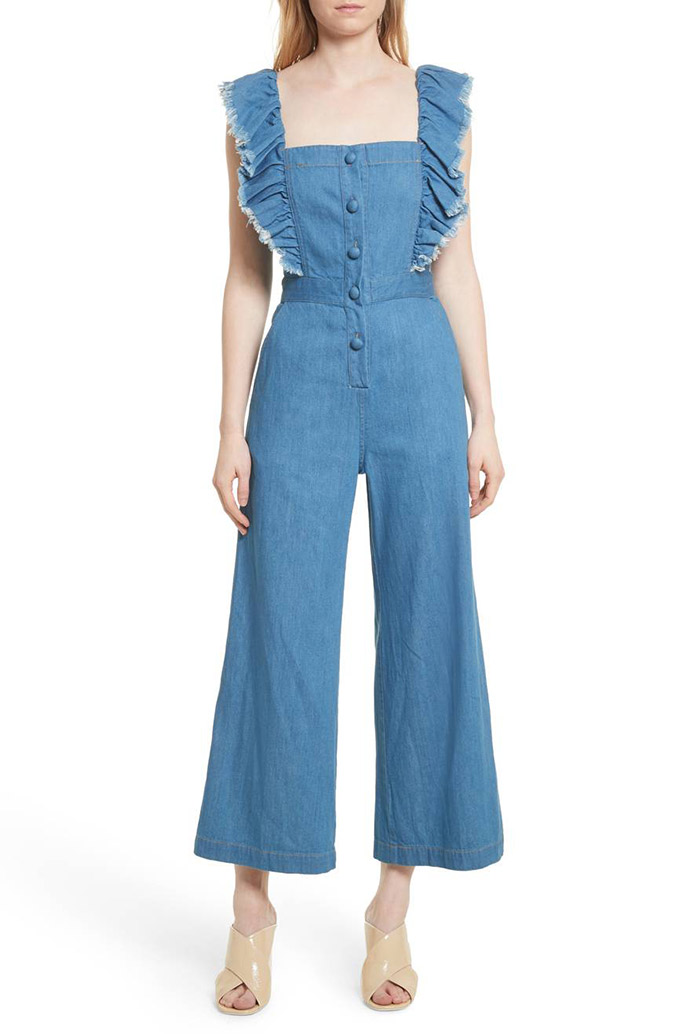 sea ruffle denim jumpsuit