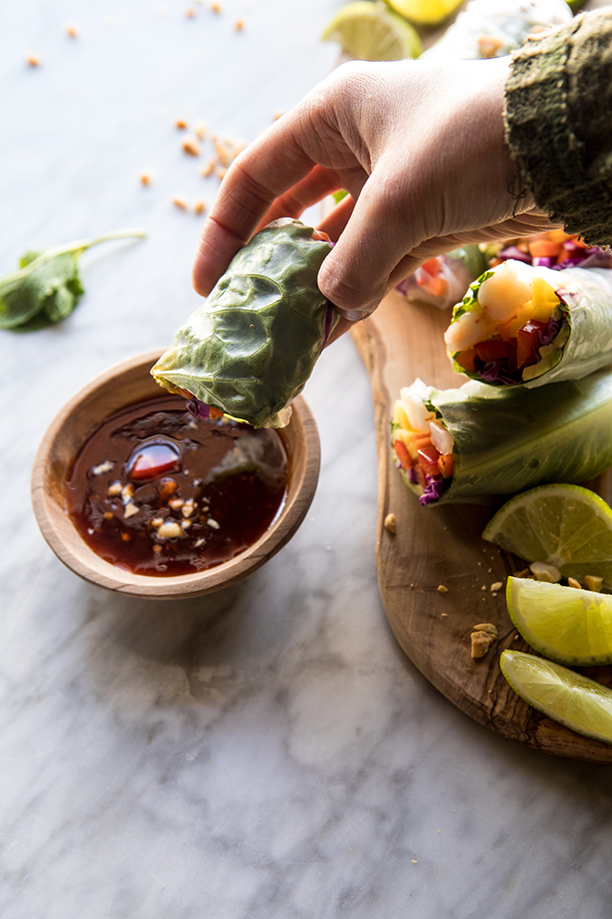 shrimp and mango spring rolls via laurenconrad.com