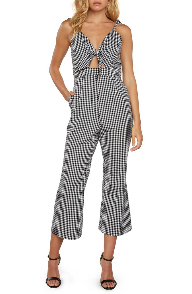 willow and clay gingham culotte jumpsuit