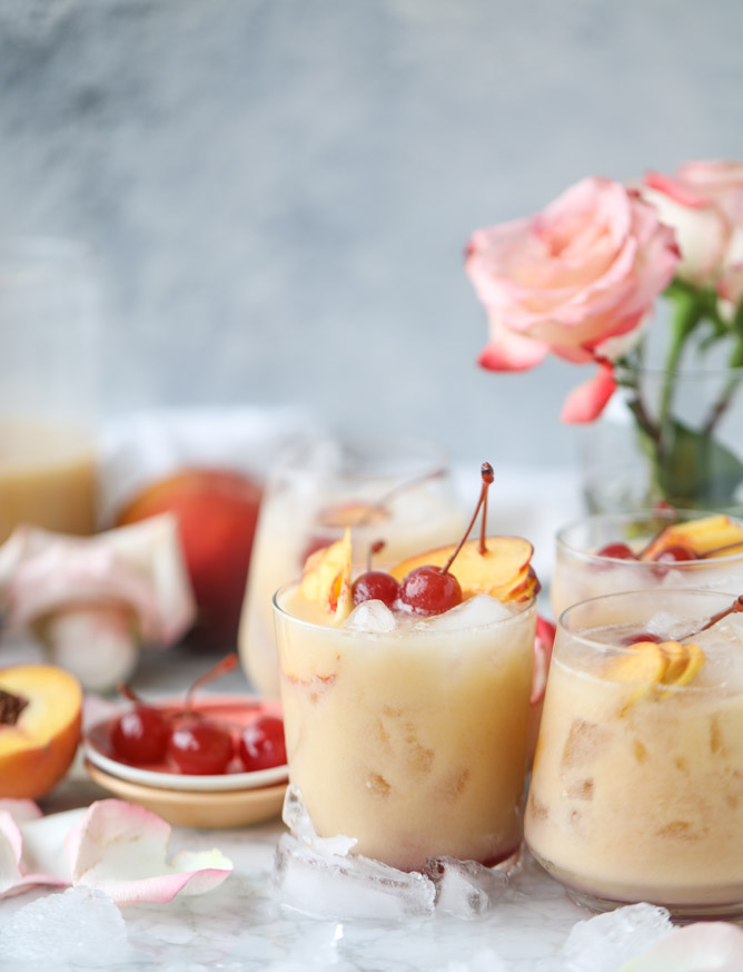 iced peach coladas recipe via How Sweet Eats on laurenconrad.com