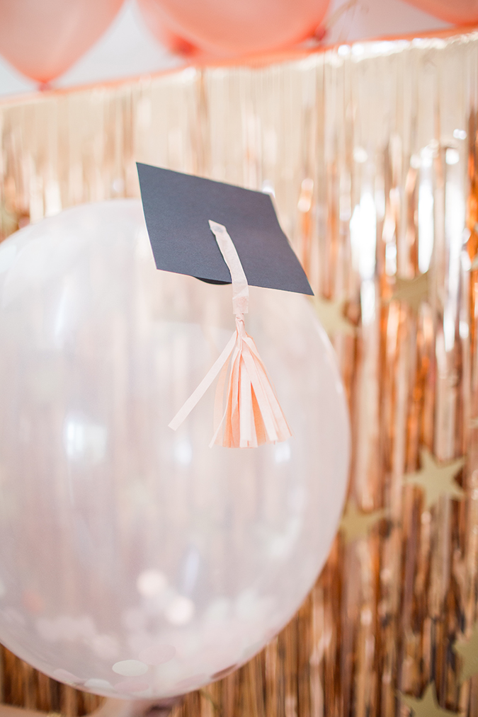 how to make a graduation balloon backdrop via laurenconrad.com