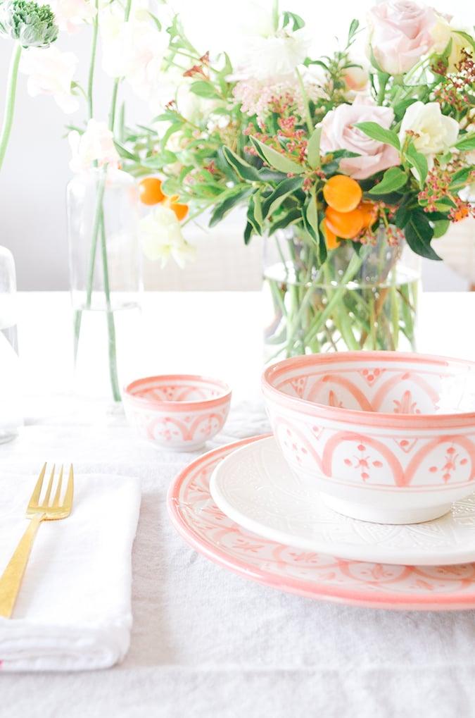 The Little Market blush ceramic table setting