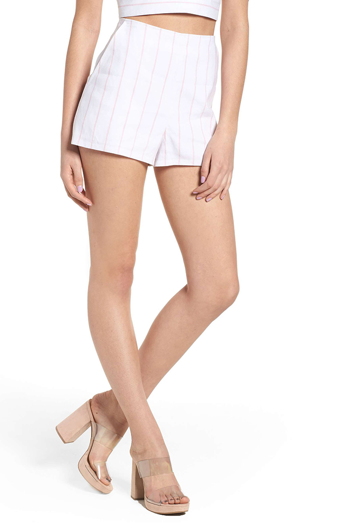 leith high waist linen shorts