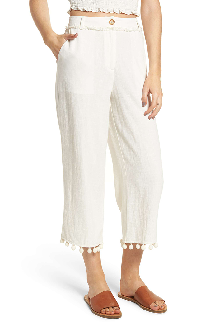 moon river linen pom pom pants