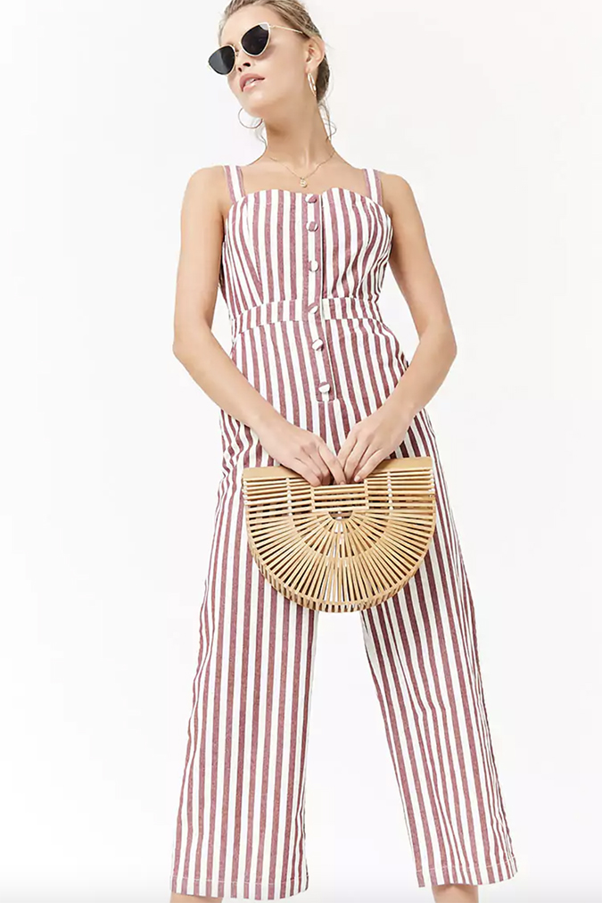 forever 21 striped denim jumpsuit