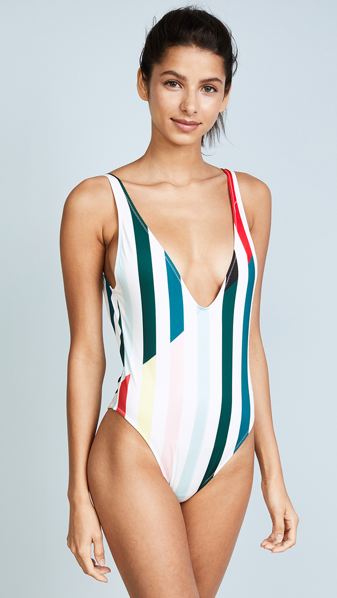 solid and striped plunge one piece