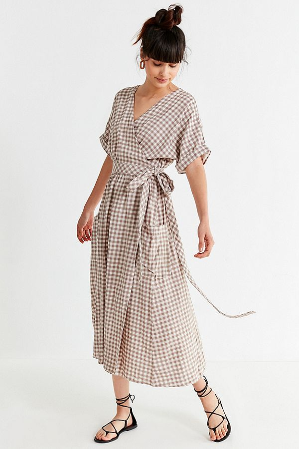 urban outfitters linen wrap dress