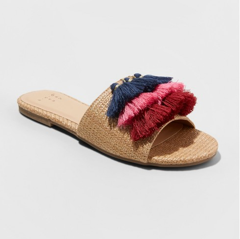 a new day raffia tassel slides