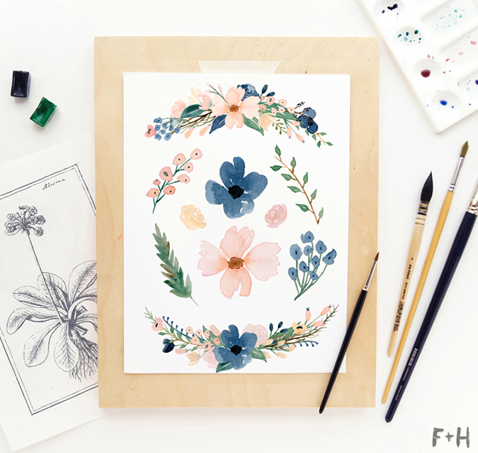 FREE blush + navy watercolor floral download