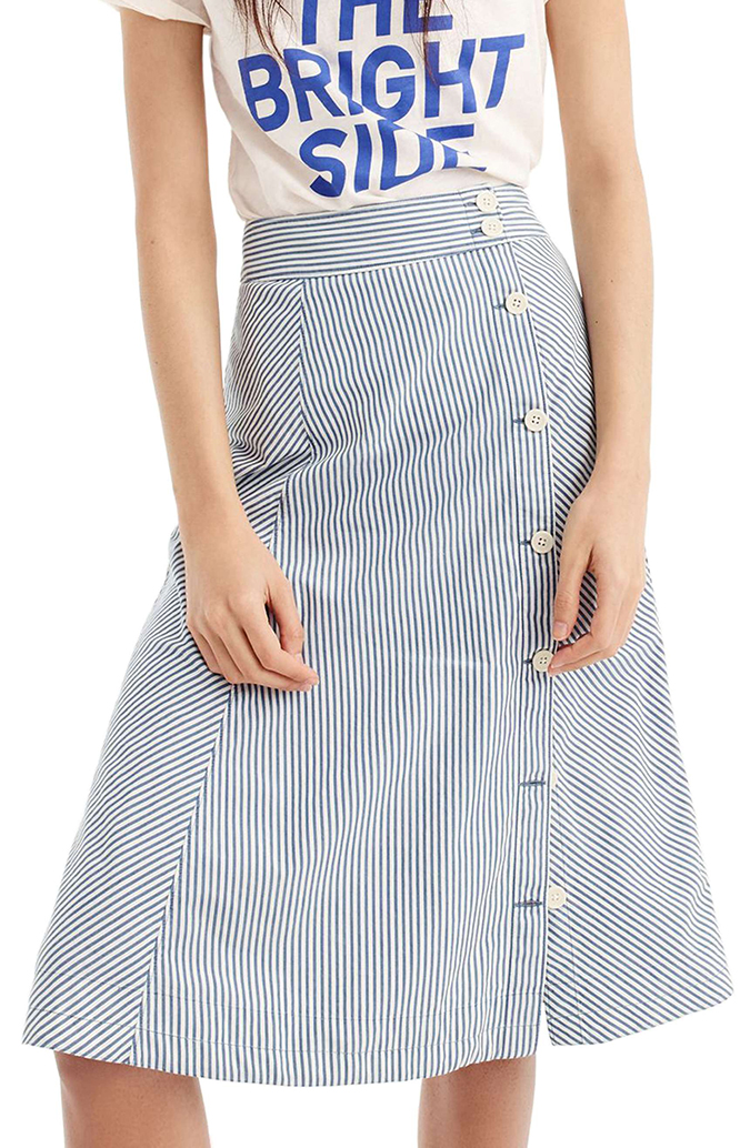 J.Crew side button striped skirt