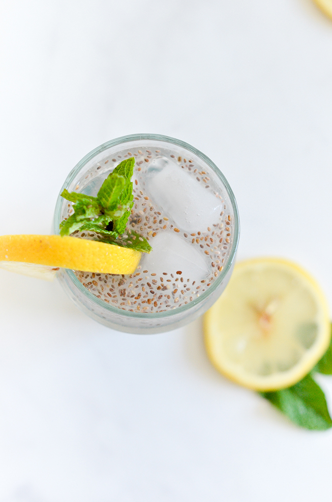 healthy chia seed lemonade recipe via laurenconrad.com