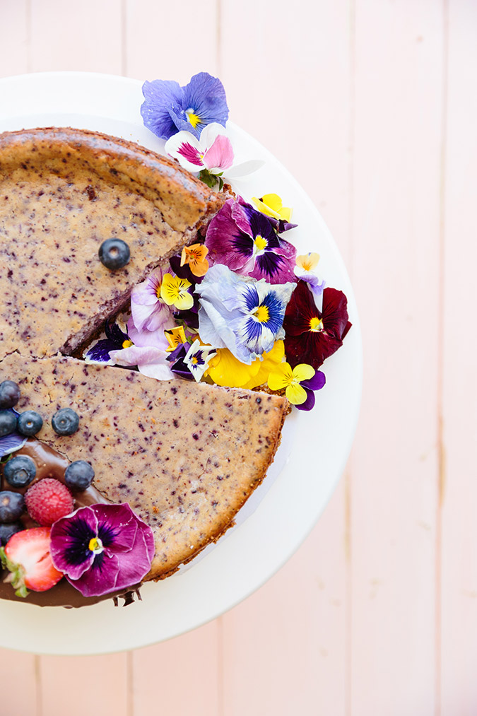 blueberry cheesecake recipe with melted chocolate via laurenconrad.com