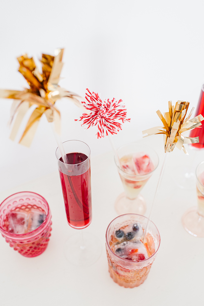 memorial day drink stirrers and ice cubes