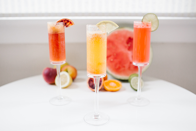 build-your-own ombre mimosa bar for mother's day via laurenconrad.com