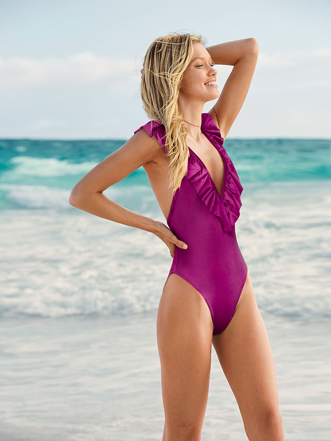 pink shine ruffle one piece from VS