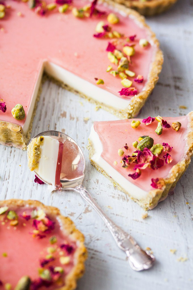 pistachio rose panna cotta tart via sugar salt magic