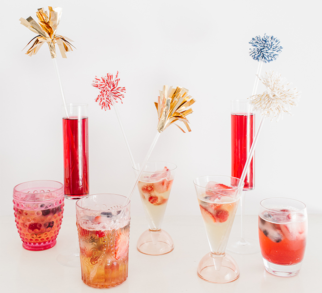 Celebrate: DIY Patriotic Drink Stirrers and Red, White & Blueberry Ice Cubes