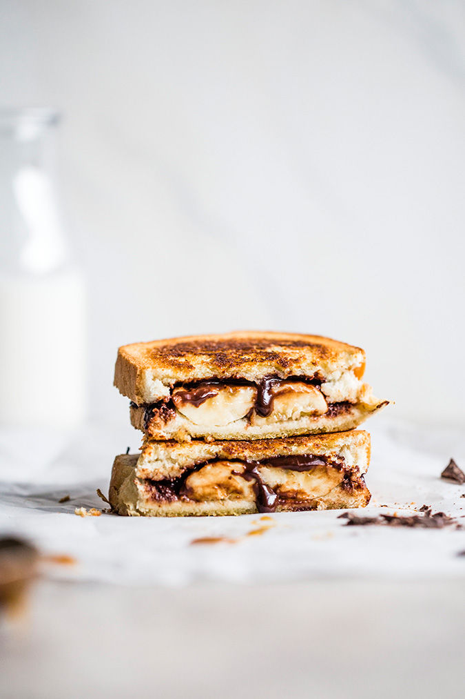 vegan chocolate bananas foster sandwich