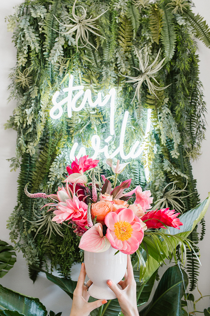 party planning a tropical palm leaf pink flamingo themed soirée