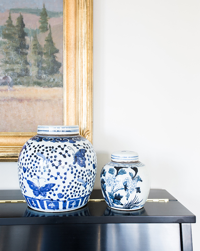 mcgee and co. blue and white ginger jars