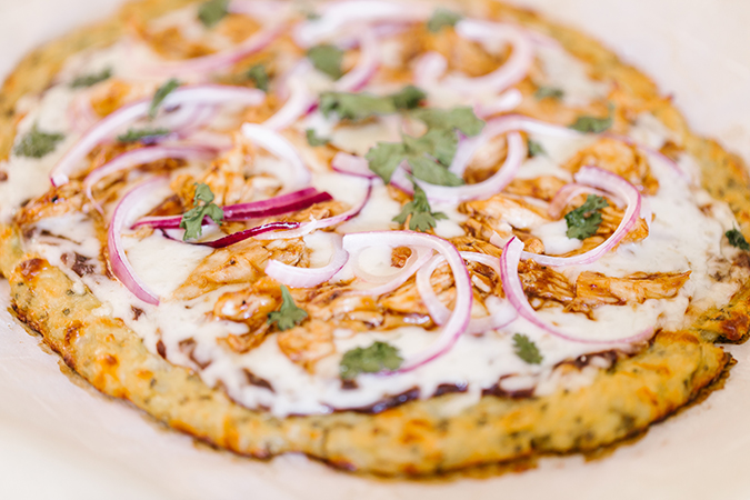 cauliflower crust BBQ chicken pizza recipe via laurenconrad.com